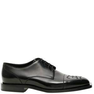 Fendi Black Karligraphy Derby Shoes Size UK 9