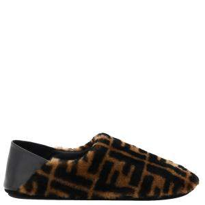Fendi Shearling FF Monogram Slippers Size UK 10