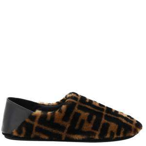 Fendi Brown Shearling Leather Slippers Ff Size UK 6/EU 40