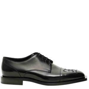 Fendi Black Leather Ff Karligraphy Derby Shoe Size UK 7/EU 40