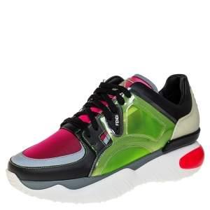 حذاء رياضى فندى أربطة بى فى سى وشبك وجلد متعدد الألوان مقاس 40