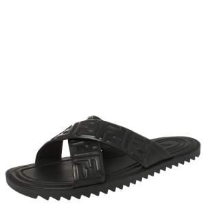 Fendi Black Leather Embossed FF Logo Flat Sandals Size 42