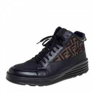 حذاء رياضي فندي مرتفع من أعلى كانفاس زوكا و شبك بني و أسود مقاس 45