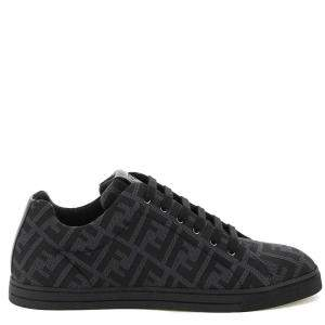 Fendi Black FF Canvas Lace-up Sneakers Size UK 8 EU 42