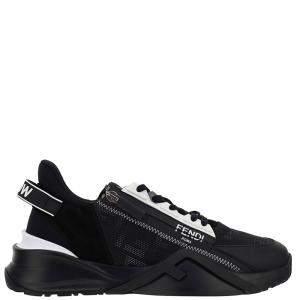 Fendi Black Nylon FF Jacquard Motif Slip-on Sneakers Size UK 10 EU 44