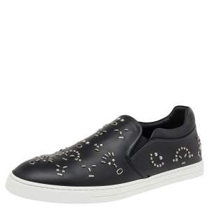 Fendi Black Leather Studded Slip On Sneakers Size 42.5