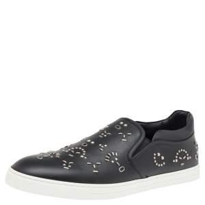 Fendi Black Leather Studded Slip On Sneakers Size 45