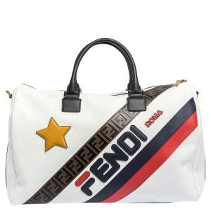 Fendi White Leather Logo Mania Weekender Bag