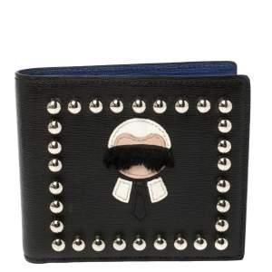 Fendi Black Leather Studded Karlito Bifold Wallet
