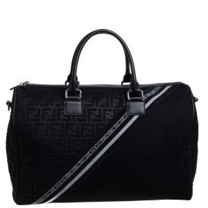 Fendi Black Zucca Mesh and Leather Duffle Bag