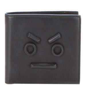 Fendi Black Leather Faces Bifold Wallet