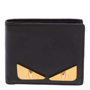Fendi Black Leather Metal Monster Eyes Bifold Wallet