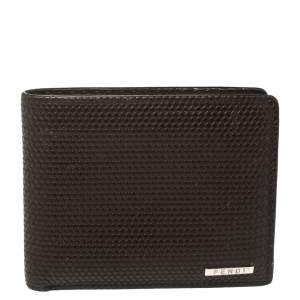 Fendi Dark Brown Woven Embossed Leather Bi Fold Wallet