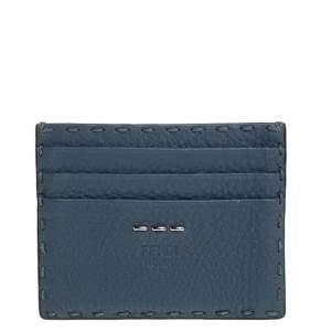 Fendi Dark Teal Selleria Leather Card Holder