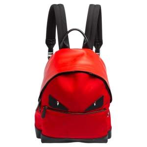 Fendi Red Leather and Nylon Monster Backpack