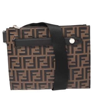 Fendi Brown FF Logo Embossed Leather Messenger Bag