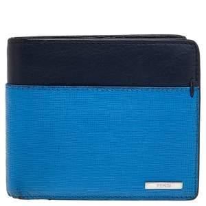 Fendi Two Tone Leather Bi Fold Wallet
