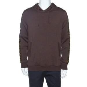 Fendi Brown Wool Blend Logo Tape Trim Hooded Sweatshirt M