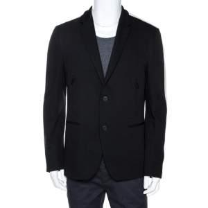 Fendi Black Knit Striped Trim Sport Coat XXL