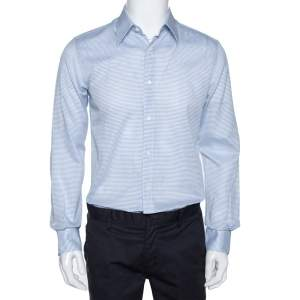 Fendi White & Blue Textured Stripe Cotton Long Sleeve Shirt M