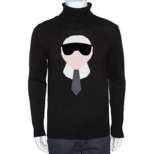 Fendi Black Cashmere Intarsia Knit Karlito Turtleneck Sweater M