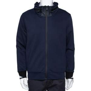 Fendi Navy Blue Knit Concealed Hooded Zip Front Jacket M