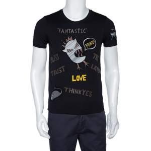 Fendi Black Monster Appliqued Cotton Crew Neck T-Shirt XS