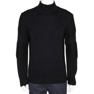 Fendi Black Wool Rib Knit Mock Neck Sweater M