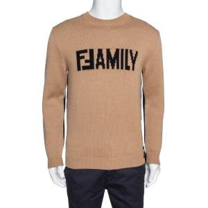 Fendi Bicolor Family Embroidered Wool Knit Pullover M