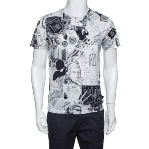 Fendi Monochrome Cotton Jersey Karl Collage Print T-Shirt S
