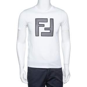 Fendi White Light Jersey Mesh Logo Applique T-Shirt S