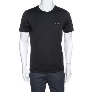 Fendi Black Cotton Bag Bugs Motif Embroidered Crew Neck T-Shirt M