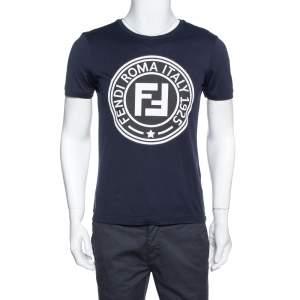 Fendi Navy Blue FF Logo Print Cotton Crew Neck T-Shirt S