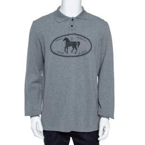 Fendi Grey Cotton Selleria Long Sleeve Polo T-Shirt XXL