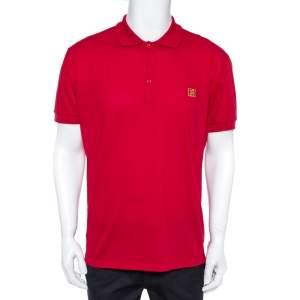 Fendi Red Cotton Pique FF Logo Detail Polo T-Shirt 3XL