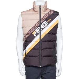 Fendi Color Block Synthetic Logo Printed Sleeveless Puffer Gilet M