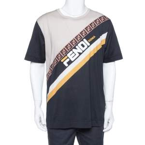 Fendi Black Color Block Cotton Logo Printed Roundneck T-Shirt L