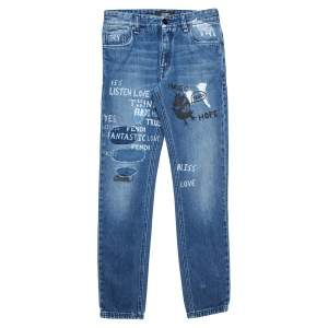Fendi Navy Blue Denim Printed Patch Detail Distressed Skinny Jeans XS