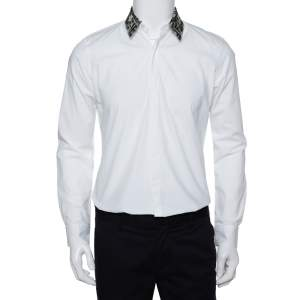 Fendi White Cotton Camou Collar Detail Button Front Shirt S