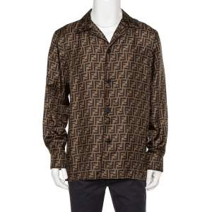 Fendi Brown Silk Zucca Monogram Button Front Shirt L