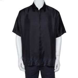 Fendi Black Zucca Gradient Printed Silk Short Sleeve Shirt XL