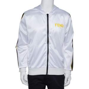 Fendi White Mesh Logo Printed Hooded Jacket L