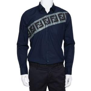 Fendi Navy Blue Cotton Diagonal Logo Printed Button Front Shirt M
