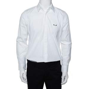 Fendi White Monster Eye Embroidered Cotton Button Front Shirt M
