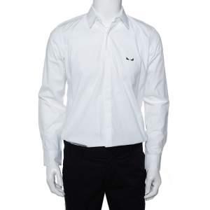 قميص فندي أزرار أمامية قطن مطرز مونستر آي أبيض مقاس وسط (ميديوم)