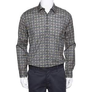 Fendi Grey Monster Eyes Printed Cotton Button Front Shirt L