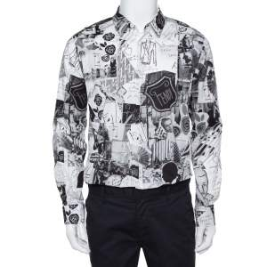 Fendi Monochrome Abstract Printed Cotton Button Front Shirt XL