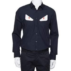 Fendi Navy Blue Cotton Monster Eye Applique Detail Button Front Shirt L