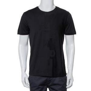 Fendi Black Cotton Logo Detail Crewneck T-Shirt M