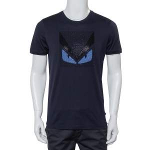 Fendi Navy Blue Cotton Crystal Monster Embellished Crewneck T-Shirt M